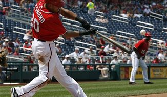 Washington Nationals shortstop Ian Desmond had three hits in the team's 8-0 loss to the St. Louis Cardinals on Wednesday in Game 3 of the National League Division Series. (Associated Press)