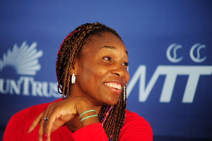 Venus Williams speaks to members of the media during a press conference before playing in a World Team Tennis match between the Washington Kastles and the Kansas City Explorers, Washington D.C., Sunday, July 22, 2012. .  (Ryan M.L. Young/The Washington Times)