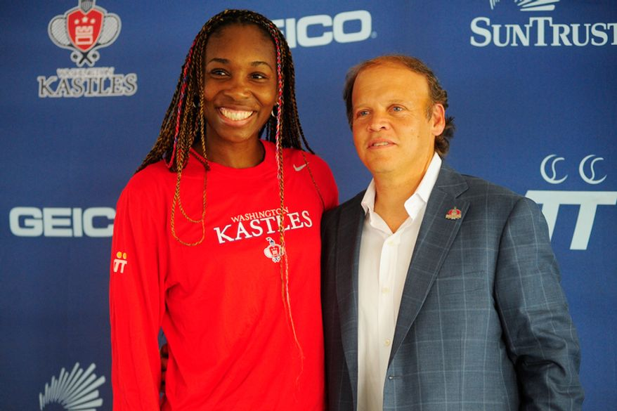 Venus Williams and Washington Kastles owner Mark Ein speak to members of the media during a press conference.  (Ryan M.L. Young/The Washington Times)