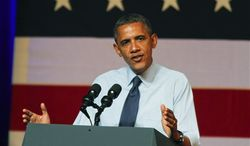 President Obama speaks at a fundraising event in Austin, Texas on Tuesday, July 17, 2012. (AP Photo/Jack Plunkett)