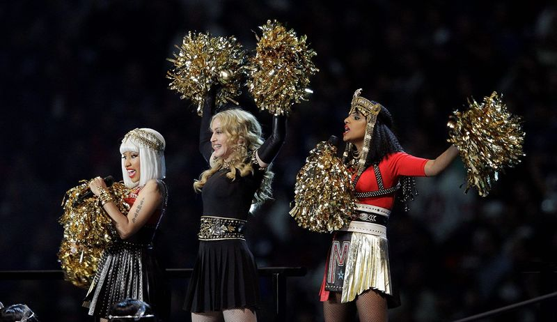 Madonna (center) performs with Nicki Minaj (left) and M.I.A. during halftime of Super Bowl XLVI in Indianapolis on Feb. 5, 2012. (Associated Press)