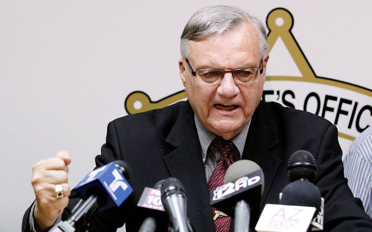 ** FILE ** Maricopa County, Ariz., Sheriff Joe Arpaio answers questions May 10 in a news conference.