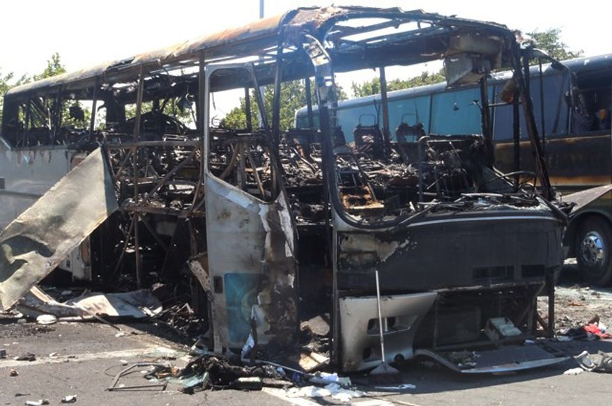 ** FILE ** A bombing targeted a bus full of Israeli vacationers at the Burgas, Bulgaria, airport parking lot on Wednesday, July 18, 2012. (AP Photo/Bulgarian Interior Ministry)