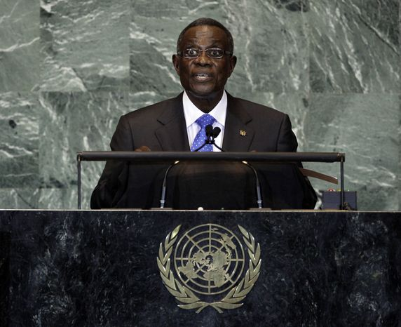 ** FILE ** In this file photo taken on Friday, Sept. 23, 2011, President of Ghana, John Evans Atta Mills, waits to address the 66th session of the United Nations General Assembly. State-run television in Ghana is announcing on Tuesday, July 24, 2012, that he has died at age 68. (AP Photo/Richard Drew, file)
