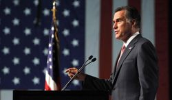 Republican presidential candidate Mitt Romney addresses the 113th National Convention of the Veterans of Foreign Wars in Reno, Nev., on July 24, 2012. (Associated Press)
