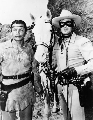 Some American Indians hope Johnny Depp will improve the image of the Tonto character, played by Jay Silverheels in the long-running TV series also starring Clayton Moore. (Disney via Associated Press)