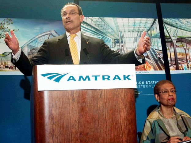D.C. Mayor Vincent C. Gray and congressional Delegate Eleanor Holmes Norton join officials from Amtrak and representatives from Akridge developers to announce the Washington Union Station Master Plan at Union Station on Wednesday in the District. The proposed development is still in the initial planning stages. (Raymond Thompson/The Washington Times)