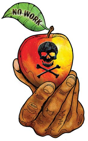 Illustration Obama's Welfare Apple by Greg Groesch for The Washington Times