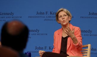 Massachusetts Democratic candidate for the U.S. Senate Elizabeth Warren talks during a forum at the John F. Kennedy Presidential Library and Museum in Boston, Tuesday, July 17, 2012. The forum was originally intended to be a debate between Warren and incumbent Sen. Scott Brown, R-Mass., before Brown backed out. (AP Photo/Stephan Savoia)