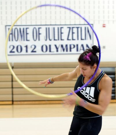 Bethesda native Julie Zetlin, shown practicing at the Katie Fitzgerald Youth Recreation Center in Darnestown, will be the first U.S. rhythmic gymnast to compete in the Olympics since the 2004 Athens Games. The 22-year-old won gold at the Pan-American Games last year, but her expectations for Lond