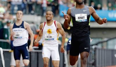 associated press  Portsmouth, Va., native LaShawn Merritt, who defeated Jeremy Wariner for the gold medal in the 400 meters in Beijing, tested positive for two steroids found in a male-enhancement product.