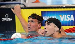 Ryan Lochte (left) took home five gold medals from the world championships in Shanghai last year, and Baltimore area native Michael Phelps collected eight golds from the Beijing Games in 2008. The rivalry continues when the U.S. Olympic swimming team hits the water in London, and Phelps already has announced he will retire after the games. (Associated Press)
