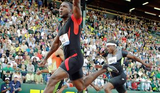 Justin Gatlin signaled his victory in the 100-meter final at the U.S. Olympic trials in June, covering the distance in 9.80 seconds. Gatlin, 30, is competing again after serving a four-year suspension from the U.S. Anti-Doping Agency for testing positive for steroids. (Associated Press)
