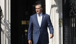 Presumptive Republican presidential nominee Mitt Romney leaves 10 Downing St. after a meeting with British Prime Minister David Cameron in London. He is hoping to raise his image abroad. (Associated Press)