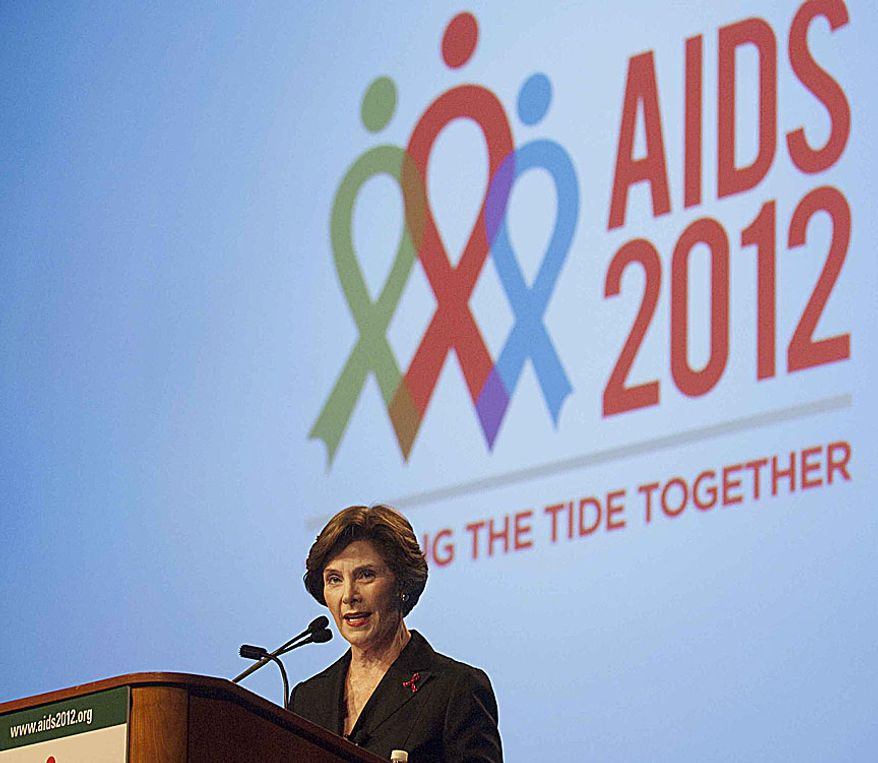"Former first lady Laura Bush addresses the ""Leadership in the AIDS Response for Women"" special session during the International AIDS Conference at the Washington Convention Center on Thursday, July 26, 2012, in Washington, D.C. The panel stressed that AIDS cannot be defeated without the empowerment of women at every level,  local, national, and international. (Raymond Thompson/The Washington Times)"