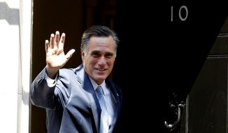 Republican presidential candidate Mitt Romney arrives July 26, 2012, at 10 Downing Street in London. (Associated Press)