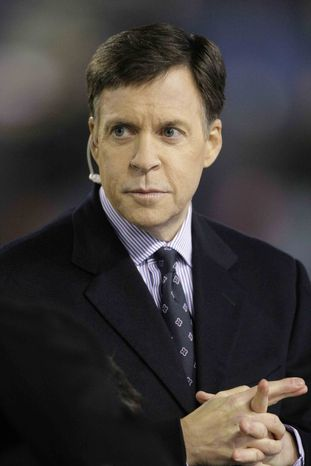 Sportscaster Bob Costas is seen before an NFL football game between the Chicago Bears and Philadelphia Eagles in Chicago, Nov. 22, 2009. (Associated Press) ** FILE **