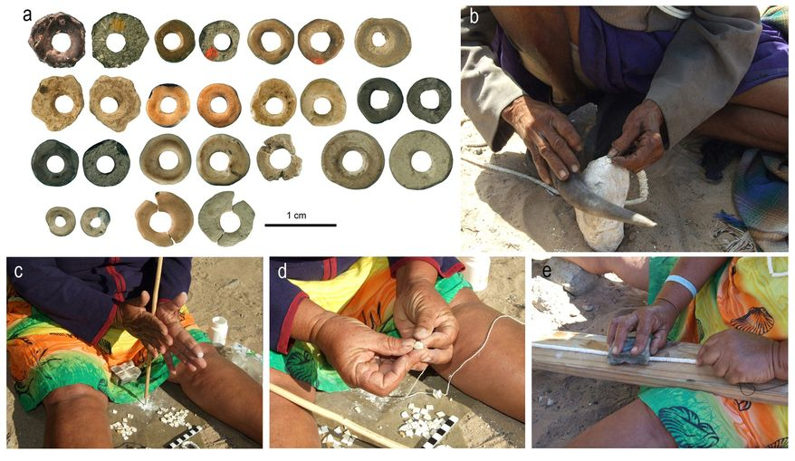 Photographs show 44,856- to 41,010-year-old ostrich eggshell beads produced with techniques similar to those used by Kalahari San women: shaping, drilling perforations, stringing with vegetal twine and smoothing with a grooved stone. (University of the Witwatersrand via Associated Pres)