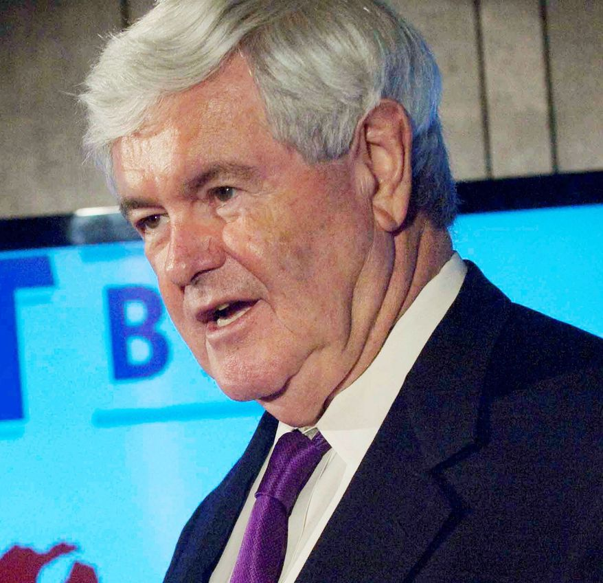 Former House Speaker Newt Gingrich was quick to defend presumptive Republican presidential nominee Mitt Romney when he irked Palestinians with a remark during his visit to Israel. (Raymond Thompson/The Washington Times)