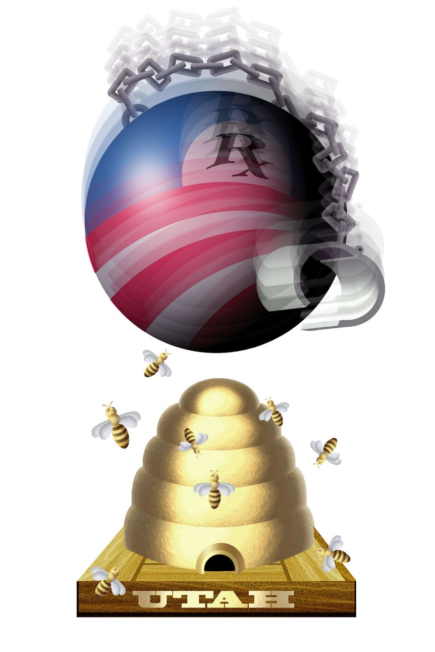 Illustration Obamacare and the States by Alexander Hunter for The Washington Times