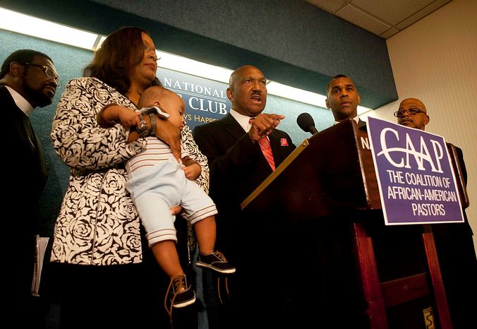 "Rev. Wiliam Owen, president and founder of the Coalition of African-American Pastors, launched a national campaign to oppose President Obama's support of gay marriage during a press conference at the National Press Club on Tuesday, July 31, 2012, in Washington D.C. ""I'm ashamed that he choose this disgraceful road,"" Rev Owen says. The CAAP say they are urging black pastors around the country to oppose the president's actions and to withdraw support for him in the upcoming November elections. (Raymond Thompson/The Washington Times)"