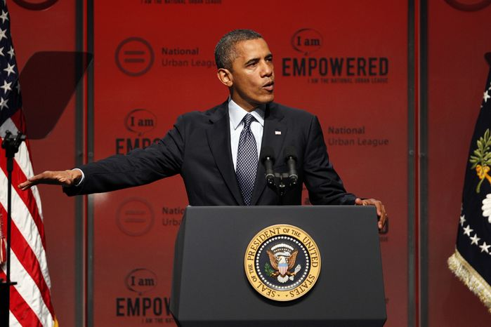 **FILE** President Obama address the National Urban League Conference in New Orleans on July 25, 2012. (Associated Press)