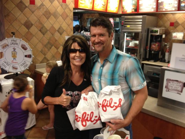 Former Alaska Gov. Sarah Palin at Chick-fil-A in the Woodlands, Texas, with her husband Todd Palin. (Facebook)