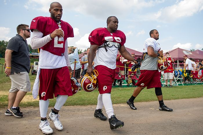 left to right: Washington Redskins corner DeAngelo Hall (2), Washington Redskins linebacker London Fletcher (59), and Dorson Boyce (45), arrive for afternoon practice at the Washington Redskins training camp at Redskins Park, Ashburn, Va., Washington, D.C., Monday, July 30, 2012. (Andrew Harnik/The Washington Times)