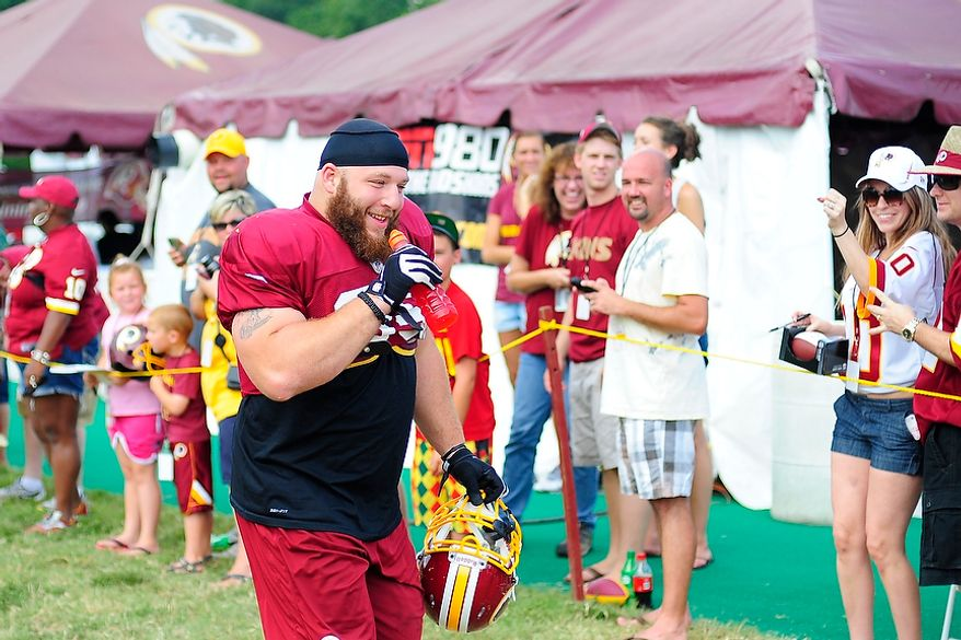 Chris Neild (#95) takes the field during Redskins' training camp at Redskins Park, Ashburn, Va., Monday, July 30, 2012.  (Ryan M.L. Young/The Washington Times)
