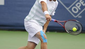 Tommy Haas, of Germany, returns the ball to Michael Russell, of the United States, during a match in the Citi Open tennis tournament, Tuesday, July 31, 2012, in Washington. (AP Photo/Nick Wass)