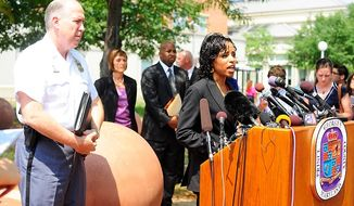 Prince George's County State's Attorney Angela Alsobrooks speaks to members of the media about the arrest warrant issued for Neil Prescott on one count of telephone misuse, a misdemeanor, after Prescott allegedly made threatening remarks to a former employer over the phone, Prince George's County Courthouse, Upper Marlboro, Md., Wednesday, August 1, 2012.  (Ryan M.L. Young/The Washington Times)