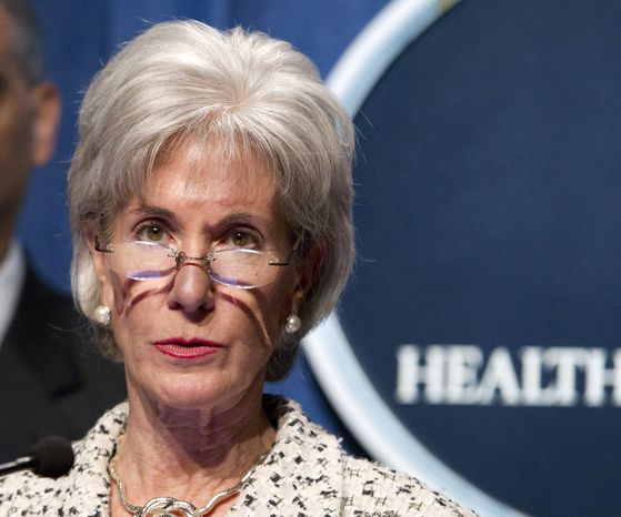 **FILE** Health and Human Services (HHS) Secretary Kathleen Sebelius speaks on Feb. 14, 2012, at HHS headquarters in Washington. (Associated Press)