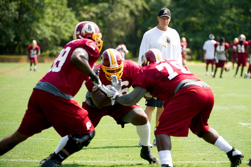 Washington Redskins defensive coordinator Jim Haslett, watches players during afternoon practice at training camp at Redskins Park, Ashburn, Va., Wednesday, August 1, 2012. (Andrew Harnik/The Washington Times)