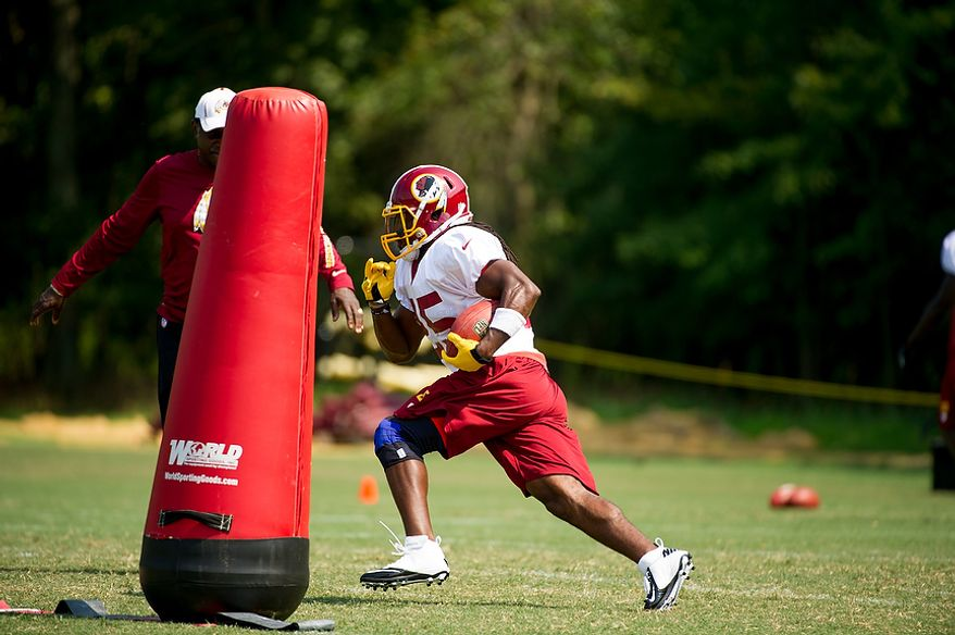 Washington Redskins running back Tim Hightower (25) during afternoon practice at training camp at Redskins Park, Ashburn, Va., Wednesday, August 1, 2012. (Andrew Harnik/The Washington Times)