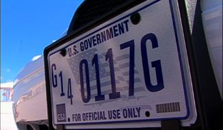 **FILE** A U.S. Government license plate is seen here July 24, 2008, on a government fleet vehicle. (Associated Press)