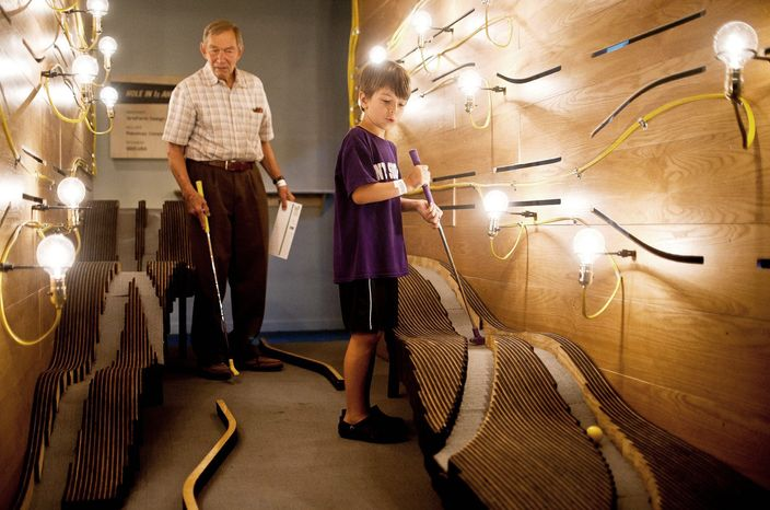 Minigolf at National Building Museum (Ryan M.L. Young/The Washington Times)