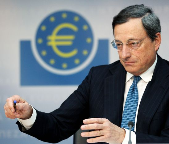 Mario Draghi, president of the European Central Bank, addresses the media in Frankfurt, Germany, on Thursday after a meeting of the ECB governing council concerning the further strategies in the European financial crisis. (Associated Press)