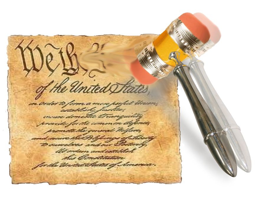 Illustration Erasing the Constitution by John Camejo for The Washington Times