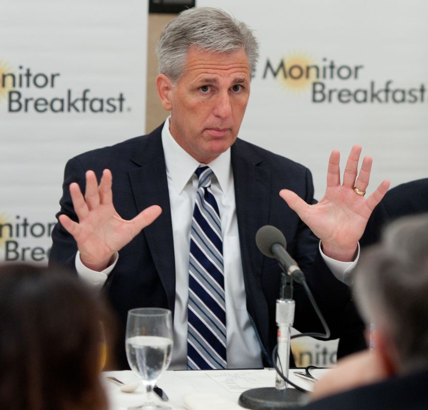 House Majority Whip Kevin McCarthy, California Republican, speaks Aug. 1, 2012, during a breakfast held by the Christian Science Monitor at the St. Regis Hotel in Washington, D.C. (Michael Bonfigli/Special to the Christian Science Monitor)