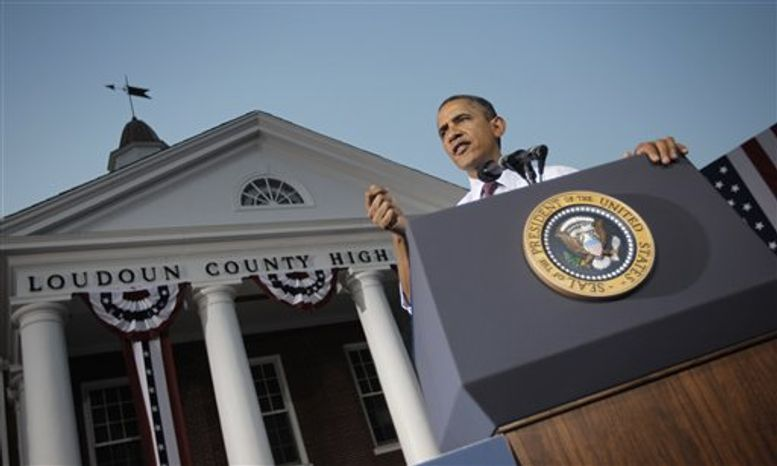 President Obama speaks at a campaign event at Loudoun County High School, Thursday, Aug. 2, 2012 in Leesburg, Va. (AP Photo/Pablo Martinez Monsivais)
