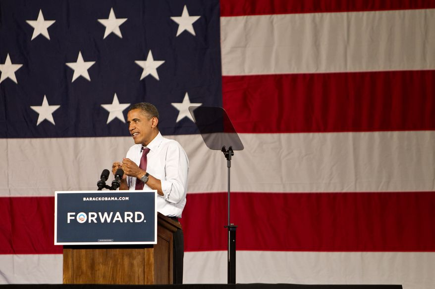 President Obama addresses the crowd of supporters on his grass-roots campaign tour at the Harold and Ted Alfond Sports Center of Rollins College in Winter Park, Fla., on Thursday, Aug. 2, 2012. (AP Photo/Tampa Bay Times, Willie J. Allen Jr.)