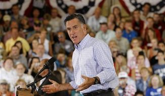 ** FILE ** Republican presidential candidate, former Massachusetts Gov. Mitt Romney campaigns at the Jefferson County Fairgrounds in Golden, Colo., Thursday, Aug. 2, 2012. (AP Photo/Charles Dharapak)