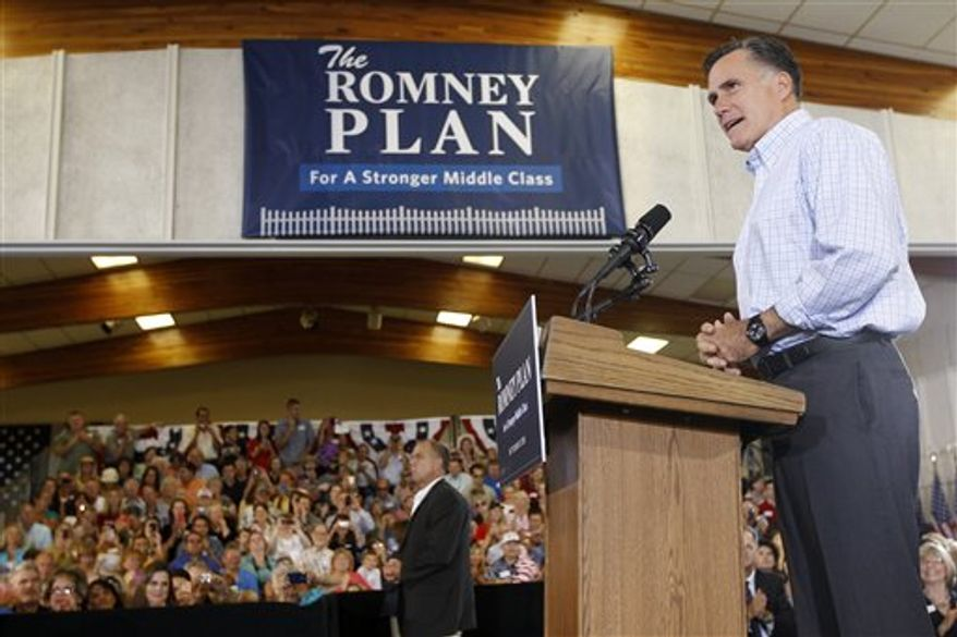 Republican presidential candidate, former Massachusetts Gov. Mitt Romney campaigns at the Jefferson County Fairgrounds in Golden, Colo., Thursday, Aug. 2, 2012. (AP Photo/Charles Dharapak)