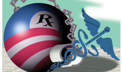 Illustration Obamacare Hindering Medicine by Alexander Hunter for The Washington Times