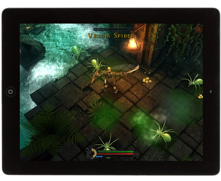 Warchief Rok battles nasty spiders in the iPad game ORC: Vengeance.
