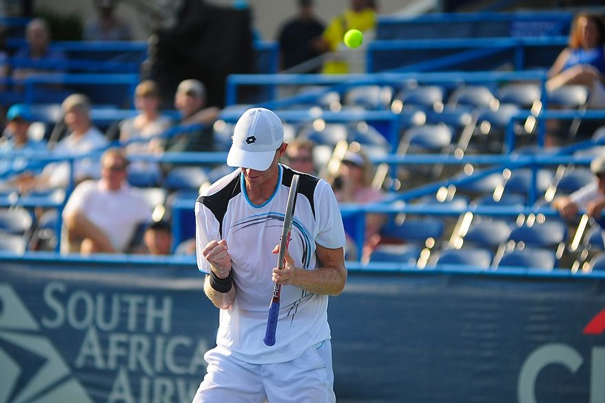 Kevin Anderson celebrates after defeating Florent Serra at the Citi Open tennis tournament at the William H.G. FitzGerald Tennis Center, Washington D.C., Thursday, August 2, 2012.  (Ryan M.L. Young/The Washington Times)