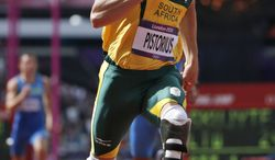 South Africa's Oscar Pistorius competes in a men's 400-meter heat during the athletics in the Olympic Stadium at the 2012 Summer Olympics, London, Saturday, Aug. 4, 2012. (AP Photo/Matt Dunham)