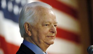 ** FILE ** This Tuesday Nov. 7, 2006, file photo shows the late U.S. Sen. Robert C. Byrd, D-W.Va., as he speaks upon winning his ninth term, in Charleston, W.Va. Byrd created a stir in the mid-1960s within the nation's intelligence community when he obtained secret FBI reports leaked by the CIA. (AP Photo/Jeff Gentner, File)