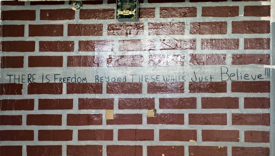 """One inmate at the Maryland House of Corrections in Jessup, Md. penned the words """"There is freedom beyond these walls. Just Believe!"""" inside his cell. (Barbara L. Salisbury/The Washington Times)"""
