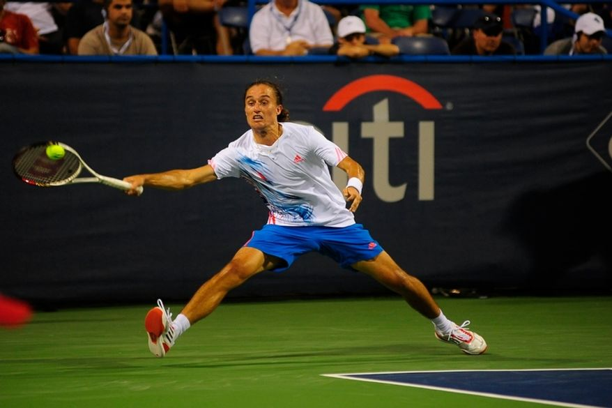 Alexandr Dolgopolov plays in the men's final against Tommy Haas at the Citi Open tennis tournament at the William H.G. FitzGerald Tennis Center, Washington D.C., Sunday, August 5, 2012.  Dolgopolov would win the match in three games.  (Ryan M.L. Young/The Washington Times)